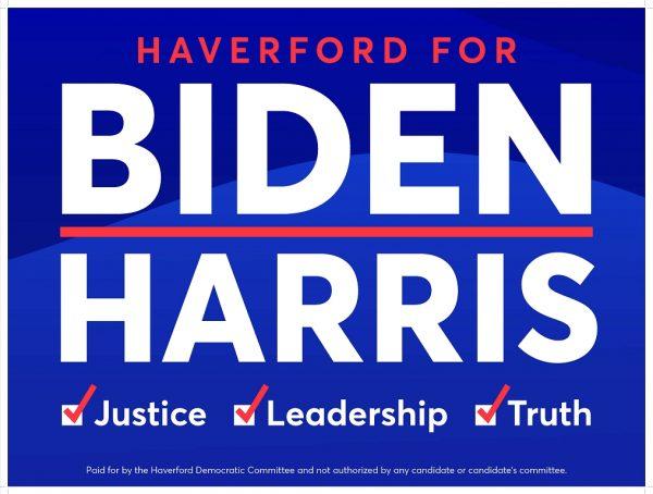 Haverford for Biden/Harris yard sign
